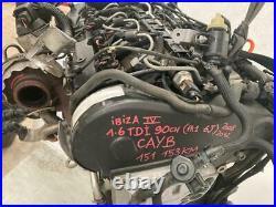 Moteur Audi / Volkswagen / Seat Ibiza 4 (1.6TDI 90CV) Code CAYB 151.153kms